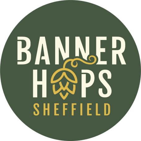 banner hops logo design