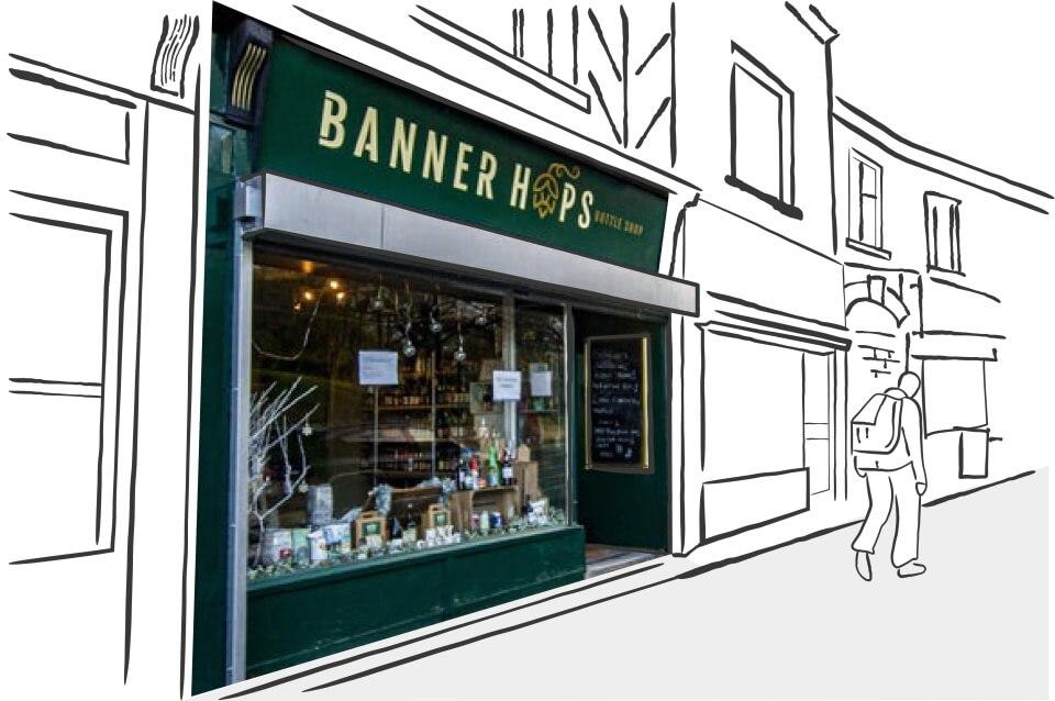 banner hops shop front design