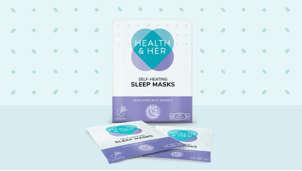 health and her sleep mask packaging